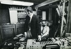 "Krzysztof Penderecki and Eugeniusz Rudnik at the Experimental Studio of the Polish Radio, April 1972, photograph from Ludwik Erhardt's book ""Spotkania z Krzysztofem Pendereckim"" (Meetings with Penderecki)"