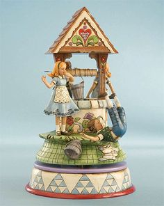 """Jim Shore Nursery Rhymes  Jim Shore Heartwood Creek  Jack and Jill Musical Figurine  """"Head Over Heels""""  Materials: Stone Resin  Revolving Musical  Tune: """"Jack and Jill""""  Size: 9.5""""    Your Price: $80.00"""