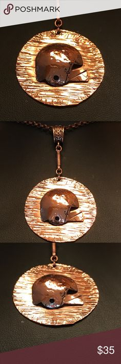 "100% Copper Football Fan Pendant Necklace A-9-30 Handmade 1-1/2"" Round copper disk with 3D 3/4"" copper football helmet.  Pendant. The connection and bail are antiqued as is the 18"" chain.  I made this one of a kind creation for the male of female fam. Handmade by HM Simon Jewelry Necklaces #pendants  #pendantssilver #pendantsgold #pendantswomen #pendantsusa #USA"