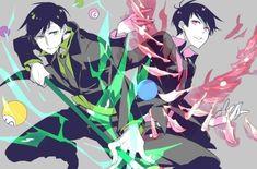 amanasisiona billiards black_hair brothers cue_stick dagger formal green_eyes katekyo_hitman_reborn looking_at_viewer matsuno_choromatsu matsuno_todomatsu multiple_boys necktie osomatsu-kun osomatsu-san parody pink_eyes siblings smile suit weapon Anime Guys, Manga Anime, Anime Art, Reborn Katekyo Hitman, Hitman Reborn, Vocaloid, Anime Siblings, Osomatsu San Doujinshi, Mafia