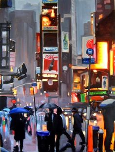 unknown artist new york pedestrians by liam spencer painting