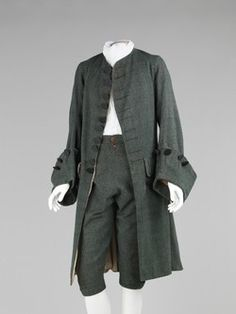 Justaucorps and breeches, 1755-65. British. Silk and Wool. Metropolitan Museum (Brooklyn Costume Collection)