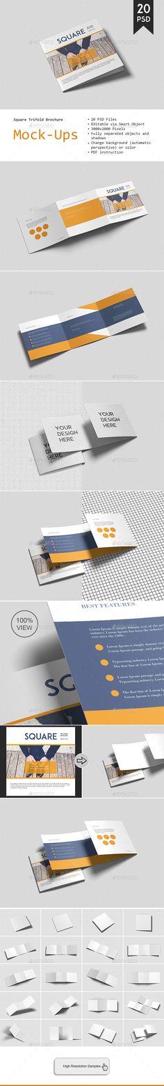 Square Trifold Brochure Mockup  #downloadmockup #mockup #square #template #mockups #brochure #graphiccrew #design #designers