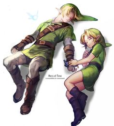 Hero of Time, Link, Naki and young Link, The Legend of Zelda: Ocarina of Time artwork by Mimme (Haenakk 7) and Carcoalo.