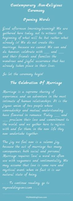 Non Religious Wedding Sermon