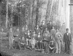 Group of men and boys assembled in front of large tree in Stanley Park 1890s