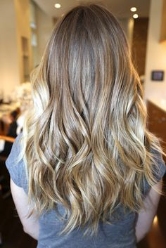 Gorgeous cool blonde ombré with ultra light tips.