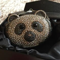 Crystal panda clutch with strap. Beautiful and sparkly panda Crystal clutch with strap and box. Stunning on an evening out. Nwot Bags Clutches & Wristlets