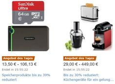 Amazon: Vier Speicherprodukte mit Rabatt für einen Tag https://www.discountfan.de/artikel/technik_und_haushalt/amazon-vier-speicherprodukte-mit-rabatt-fuer-einen-tag.php Bei Amazon sind am heutigen Freitag vier Speicherprodukte mit Rabatt zu haben. Mit dabei ist eine externe Anti-Shock-Festplatte mit zwei TByte für 82,32 Euro sowie Speicherkarten ab 13,50 Euro. Amazon: Vier Speicherprodukte mit Rabatt für einen Tag (Bild: Amazon.de) Die Speicherprodukte von A... #Festpl
