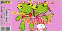 Sapo Pepe & Pepa invitation card. Tarjeta invitación tema Sapo Pepe y Pepa disponible en www.elsurdelcielo.com