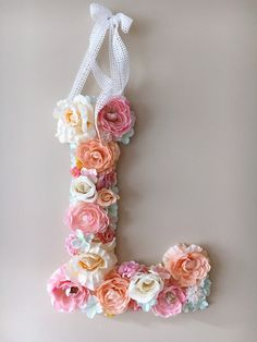 Flower Letters Floral Letters Vintage wedding by PaulettaStore - Ideas For Diy Flower Letters, Diy Letters, Nursery Letters, Pastel Candy, Pink Candy, Nursery Wall Decor, Girl Nursery, Vintage Letters, Baby Shower