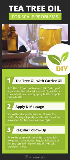 Tea Tree Oil for Scalp Problems    Method – 1: (Tea Tree Oil with Carrier Oil)    This process is used to treat almost all the scalp problems like dry scalp, itchy scalp, dandruff, scalp psoriasis, oily scalp, flaky scalp, scalp ringworm, scalp eczema, scalp fungus, smelly scalp, scalp acne and scalp sores.