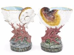Minton argenta-glazed majolica shell and coral jardinieres, dated 1873, 25 in. high     SOLD $23,000 Sept. 2011