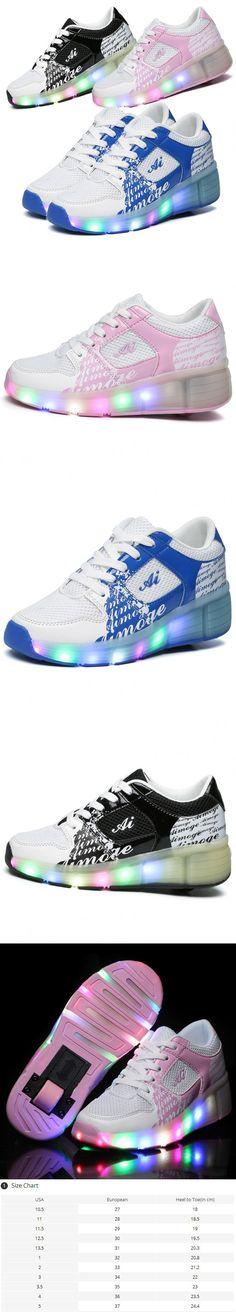 Eur27-37 //Heelys Jazzy Junior girls&boys LED Light Heelys Roller Skate Shoes For children&kids Sneakers With Wheels shoes