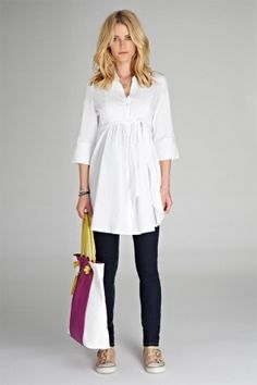 ... Isabella Oliver Libby Maternity Tunic White | Maternity Clothes | Maternity Tops