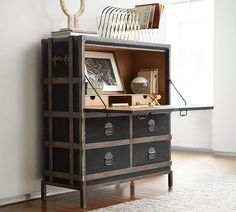 I love the rustic feel of old trunks in this great secretary desk #homedecor #homeoffice #rustic #afflink