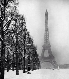 The Eiffel Tower on a snowy day in 1928