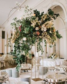 TAll Wedding Centerpiece, Geometric, Modern, Organic, Greenery, Gold