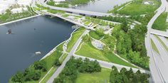 OMA and landscape architect OLIN win the competition for the Street Bridge Park in Washington DC. The scheme was unanimously selected by the jury, in addition to receiving the recommendation of the design oversig. Washington Dc, Win Competitions, Design Competitions, Urban Landscape, Landscape Design, Rotterdam, Parque Linear, Park Pictures, Bridge Design