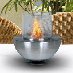 Spherical glass tabletop fireplace « zPatioFurniture.com