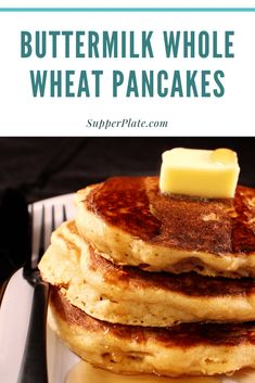 Enjoy these fluffy whole wheat buttermilk pancakes recipe. Easy to make plus make extras for the freezer to meal prep for a future meal! Breakfast On The Go, Best Breakfast, Healthy Breakfast Recipes, Breakfast Ideas, Healthy Recipes, Buttermilk Pancakes Easy, Light And Fluffy Pancakes, Whole Wheat Pancakes, Dinner On A Budget