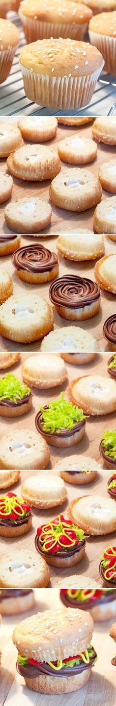How to make burger cupcakes - cake decorating tutorial Just Desserts, Dessert Recipes, Good Food, Yummy Food, Think Food, Let Them Eat Cake, Cupcake Cakes, Party Cupcakes, Sweet Treats
