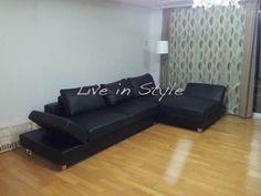 L-Shape Black Leather Sofa - Max9003A