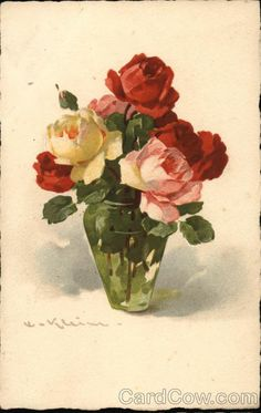 Divided Back Postcard Beautiful Roses Flowers Catherine Klein, Vintage Flowers, Vintage Floral, Rose Pictures, Paris Art, Learn To Paint, Yellow Roses, Beautiful Roses, Vintage Prints