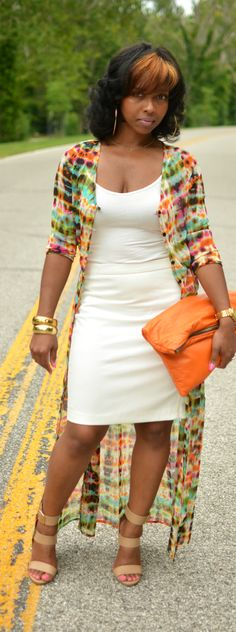 http://www.shorthaircutsforblackwomen.com/african-dresses Love the cardigan… Dress With Long Cardigan, Long Cardigan Outfit Summer, Black Maxi Dress Outfit Ideas, Maxi Cardigan, Mini Robes, African Dress, Love Fashion, Plus Size Fashion, Passion For Fashion