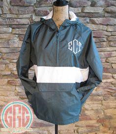 Monogrammed Personalized Black w/ White Stripe Quarter Zip Rain ...
