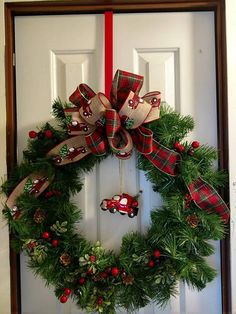 Made with green base, decorations, and wire ribbons. It should be placed on a door with some kind of overhang so that it does not get wet in the rain. This wreath is ready to be ship! Christmas Door Wreaths, Holiday Wreaths, Christmas Crafts, Christmas Decorations, Christmas Things, Holiday Decorating, Garland Hanger, Green Wreath, Diy Wreath