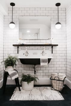 The High Backcast Iron Trough Sink, White Subway Tiles, Dark Grout And Dark  Floor Tiles Work So Well Together.