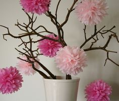 If we cant use walls or ceiling- cute way to hang poms