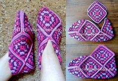 Square room shoes by Keiko Okamoto (岡本啓子)                    Source …             More …        More Crochet Squares Motifs …