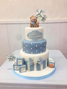 Baby Boy Birthday Cake, Baby Boy Cakes, Birthday Cakes For Women, Cakes For Boys, Baby Shower Cupcakes, Shower Cakes, Baby Boy Shower, Christening Cake Boy, Teddy Bear Cakes