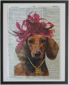 Dachshund Print No.222 funny dog dachshund print dachshund