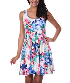 Look at this Ivory & Pink Floral Skater Dress on #zulily today!