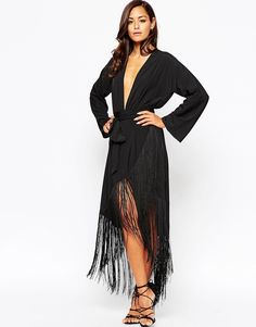 Image 1 of ASOS Fringe Deep Plunge Maxi Dress