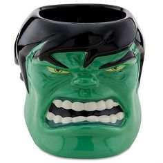 Smash through the morning fog when you knock back our incredible Sculptured Hulk Mug. This super-sized ceramic coffee mug is shaped just like the Hulk's scowly jowls. Disney Marvel Incredible Hulk Sculpted Ceramic Mug ~ A real collectible! Disney Coffee Mugs, Disney Mugs, Disney Incredibles, Home Decor Sculptures, Hulk Marvel, Marvel Comics, Incredible Hulk, Toy Sale, Ceramic Mugs