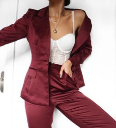 Underwear as outerwear and this satin suit is a combo I'm sticking with. Wearing all Jacket Trousers Fashion Beauty, Womens Fashion, Outerwear Women, Fashion Lookbook, Elegant Dresses, Suits For Women, My Outfit, Dress To Impress, Boho Dress