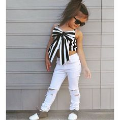 Cheap top config, Buy Quality suit brand directly from China suit girls Suppliers: 2017 Hot Girls Set Tops and Pants 2 Pieces Summer Stripes Ribbon Short Sling Fashion Hole Pants European Style Children's Suits Little Kid Fashion, Baby Girl Fashion, Kids Fashion, Fashion Outfits, Fashion Top, Fashion Clothes, Fashion 2015, Trending Fashion, Fashion Games