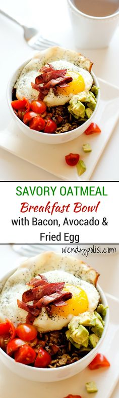 Savory Oatmeal Breakfast Bowl with Bacon, Avocado & Fried Egg -  This savory oatmeal breakfast bowl will rock your world!  Bring your best bowl with bacon, avocado and egg. - WendyPolisi.com #BringYourBestBowl #Target #ad