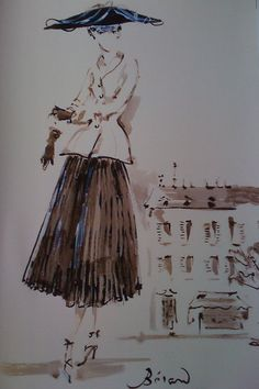 "Fashion drawing of the ""New Look"" by Christian Berard"