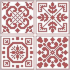 Four smaller squares Cross Stitch Borders, Cross Stitch Designs, Cross Stitching, Cross Stitch Embroidery, Cross Stitch Patterns, Crochet Cross, Crochet Chart, Filet Crochet, Beading Patterns