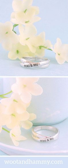 Two simple silver rings fuse into one - a symbol of two hearts who are as one. The words, 'you & me' are engraved on the outer ring at an elegant diagonal in dark lettering. Made of solid sterling silver. Indian Jewellery Online, Birthday Gifts For Best Friend, Necklace For Girlfriend, Bridal Jewelry, Gold Jewellery, Diamond Jewelry, Silver Jewelry, Blue Topaz Ring, Wedding Dj