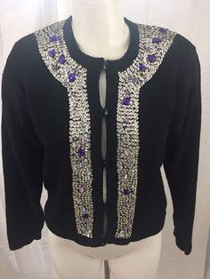Work in Progress Black Embellished Cardigan Sweater Long Sleeve Size Large #WorkInProgress #Cardigan #Formal