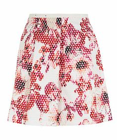 Pink Pattern (Pink) Pink Floral Print Pixelated Skater Skirt | 297535679 | New Look