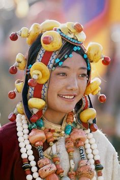 Tibetan woman in traditional attire