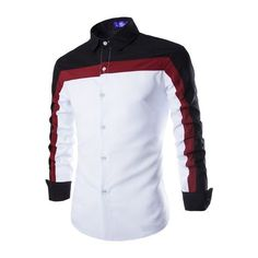 2015 Freeshiping Autumn Style Men Shirts Patchwork Dress Shirt Full Sleeve Camisa Dress Shirt Asian Size M-XXL 16C79