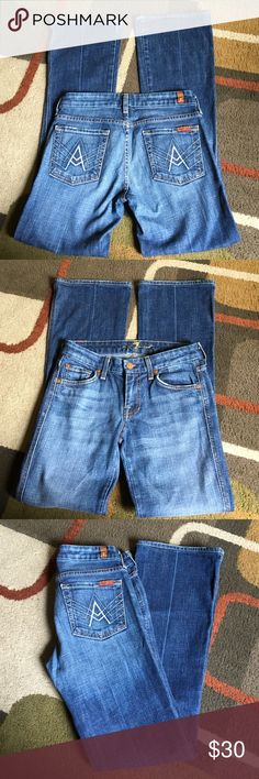 """7 for all mankind  """"A"""" pocket style  inseam is 31""""  material is 98% cotton 2% polyurethane 7 for all Mankind Jeans Boot Cut"""